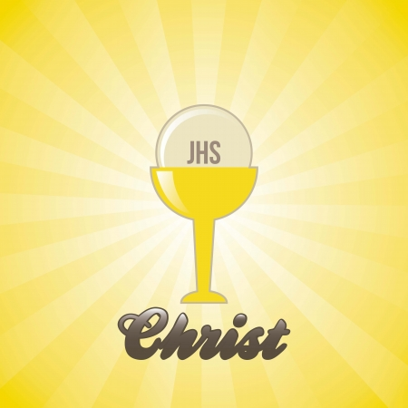 liturgy: jesus christ icon over yellow background. illustration