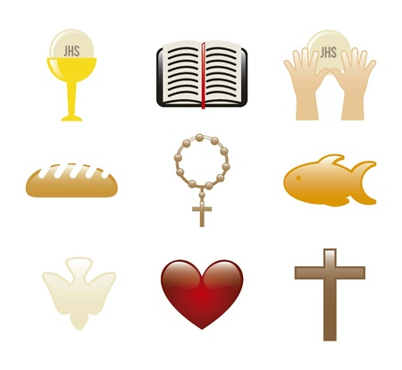 jesus christ icons over white background. illustration