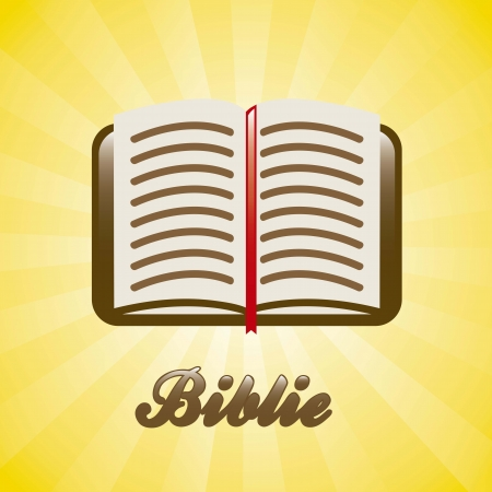 artistic jesus: bible icon over yellow background. illustration Illustration