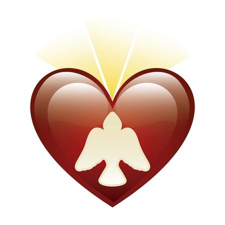 Heiligen Geist Symbol über Herz Hintergrund. Abbildung