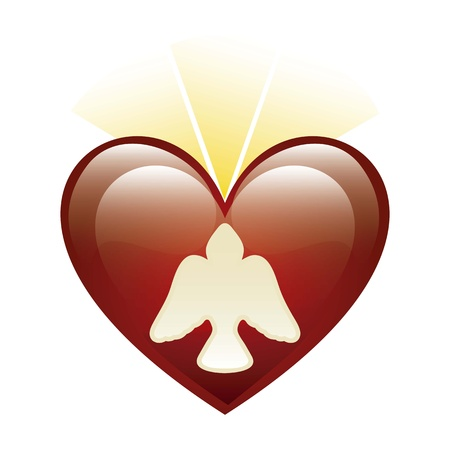 icono Espíritu Santo sobre el fondo del corazón. ilustración