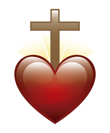 sacred heart: heart and cross icon over white background. illustration