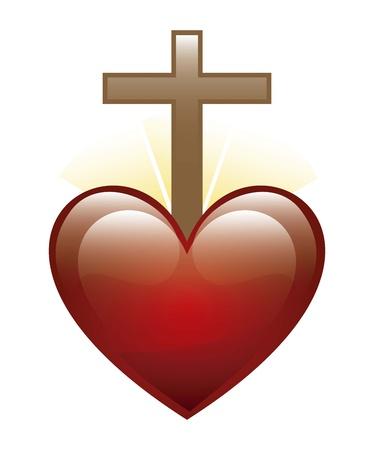roman catholic: heart and cross icon over white background. illustration