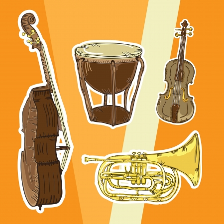 Colorful Background with musical elements Vector