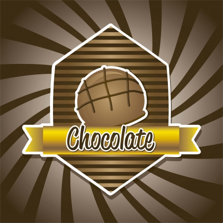 chocolate truffle: chocolate truffle over brown background. vector illustration Illustration