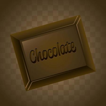 barra de chocolate: barra de chocolate sobre fondo marr�n. ilustraci�n vectorial