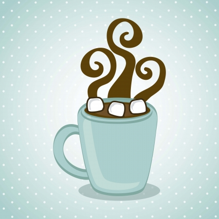 hot chocolated over blue background. vector illustration Vector