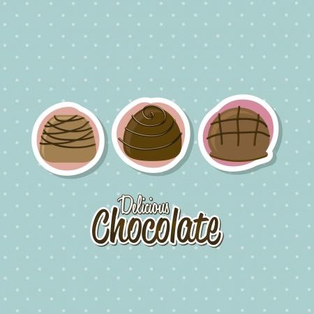 chocolate truffle: chocolate truffle set over white background. vector illustration Illustration