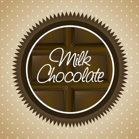 deliciously: milk chocolate label over beige background. vector illustration
