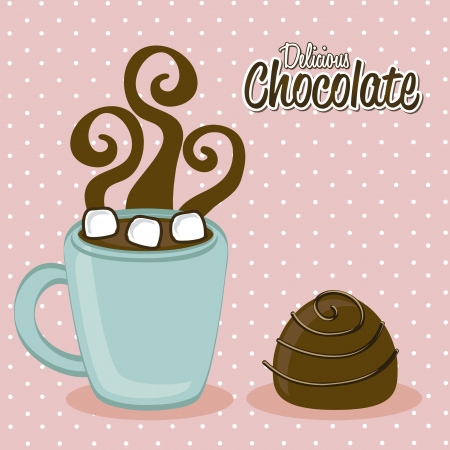 hot chocolate: chocolated caliente sobre fondo de color rosa. ilustraci�n vectorial