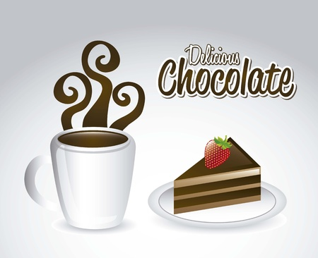tasteful: chocolated and cake over gray background. vector illustration Illustration