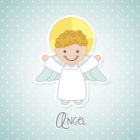 praying angel: angel cartoon over blue background. vector illustration