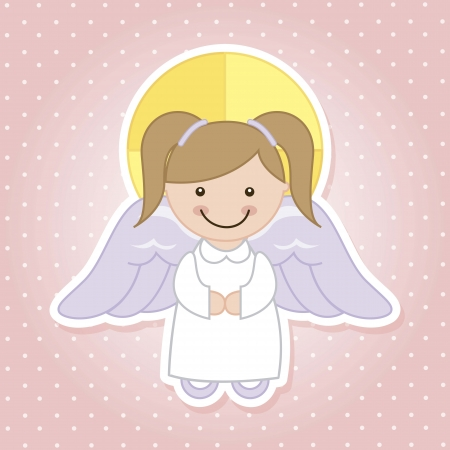 child praying: angel cartoon over pink background. vector illustration Illustration