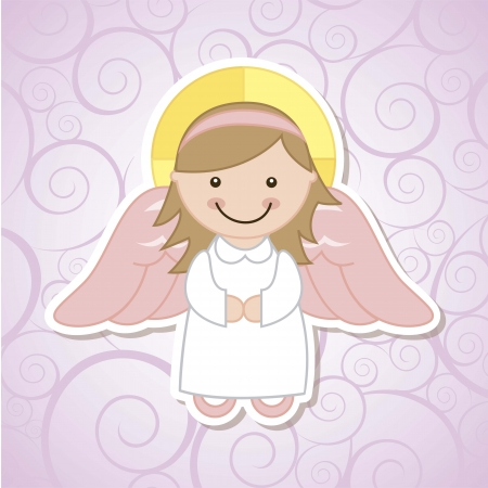 child praying: angel cartoon over violet background. vector illustration