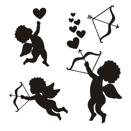 cupid set over white background. vector illustration Stock Vector - 18606457