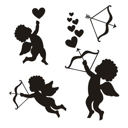 arco y flecha: Cupido puesto sobre fondo blanco. ilustraci�n vectorial Vectores