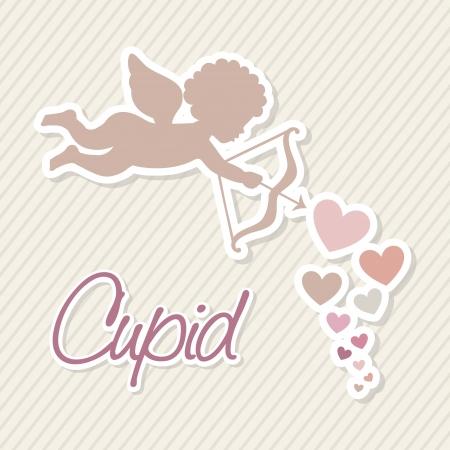 Cupido isolato su sfondo beige. illustrazione vettoriale Vettoriali