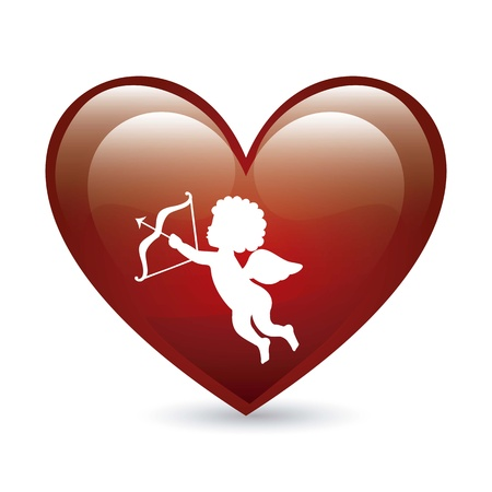 cherub: cupid and heart over white background. vector illustration