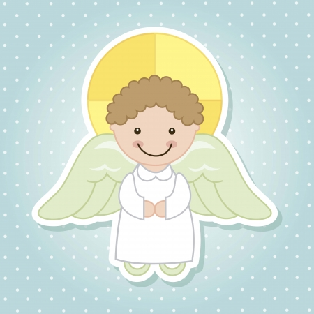 child praying: angel cartoon over blue background. vector illustration