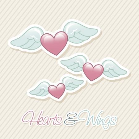 winged: angel wings over beige background. vector illustration Illustration