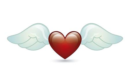 corazon con alas: alas de �ngel sobre fondo blanco. ilustraci�n vectorial