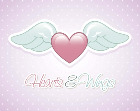 heart with wings: angel wings over violet background. vector illustration Illustration
