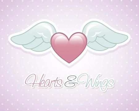 angel wings over violet background. vector illustration Illustration