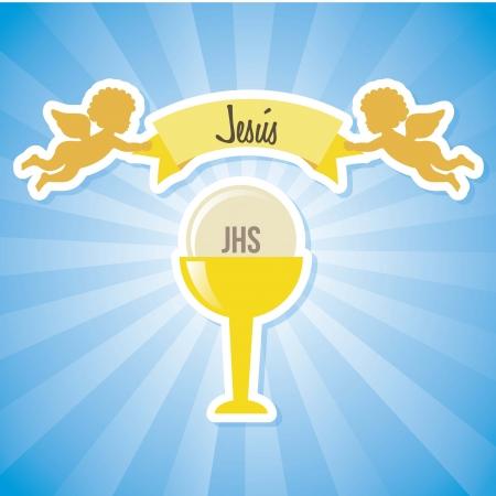 santa cena: jesus cristo icono sobre fondo azul. ilustración vectorial