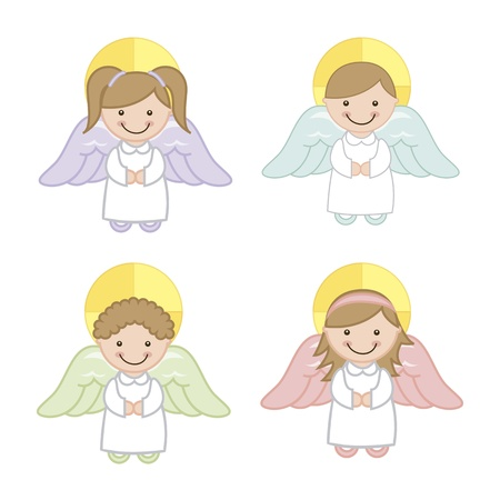 child praying: angel cartoon over white background. vector illustration