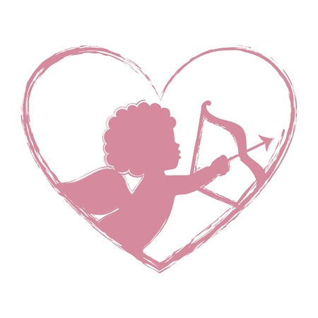 silueta de angel: Cupido aislado sobre fondo blanco. ilustraci�n vectorial