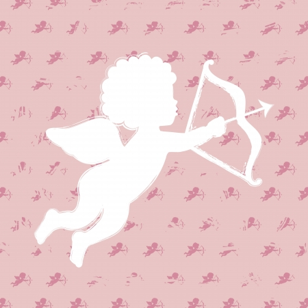 cute cupid over pink background. vector illustration Vector