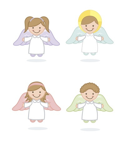 angel girl: angel cartoon over white background. vector illustration