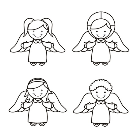 angel cartoon over white background. vector illustration Vector