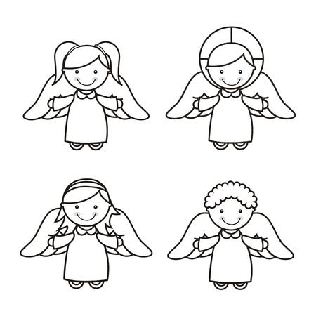 child praying: angel cartoon over white background. vector illustration
