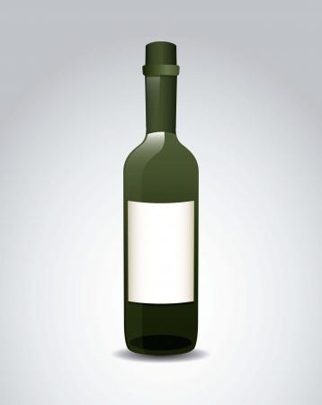 wine bottle over gray background. vector illustration Stock Vector - 18606400