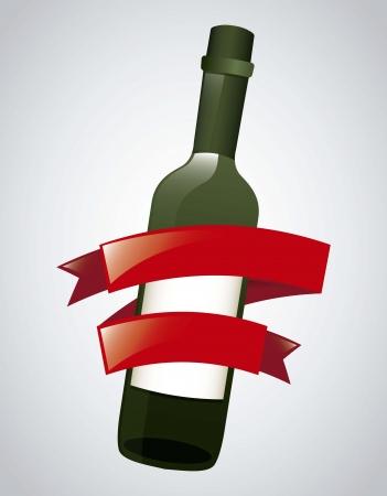 wine bottle over gray background. vector illustration Stock Vector - 18606389