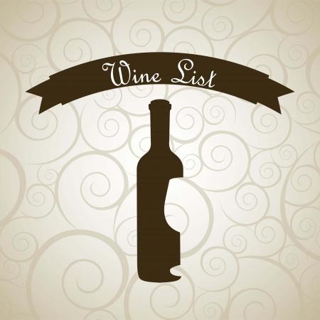 wine bottle over beige background. vector illustration Stock Vector - 18606395
