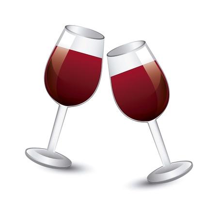 weingläser: Wein Tasse auf wei�em Hintergrund. Vektor-Illustration Illustration