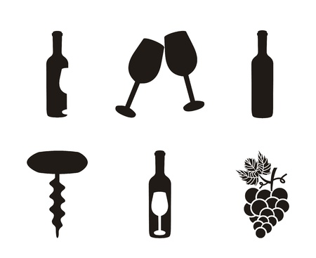 wine icons over white background. vector illustration Stock Vector - 18606385
