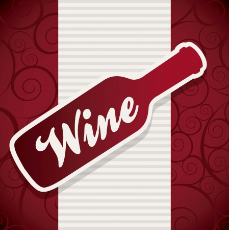 wine bottle over red background. vector illustration Stock Vector - 18606386