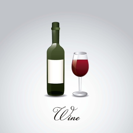 wine bottle and cup over gray background. vector illustration Stock Vector - 18606388