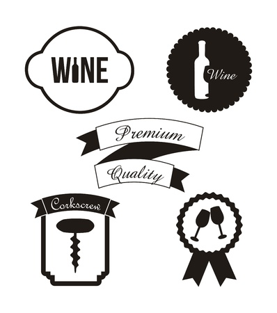 corkscrew: wine labels over white background. vector illustration