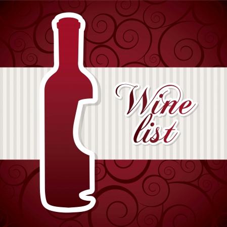 wine bottle over red background. vector illustration Stock Vector - 18606393