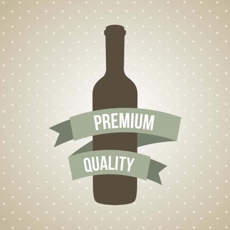 wine bottle over brown background. vector illustration Vector
