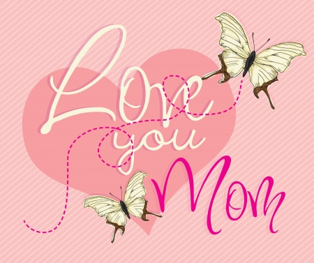 Happy Mothers Day concept (butterflies and big heart), vector illustrator Stock Vector - 18607094