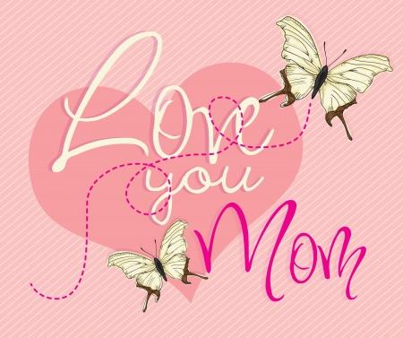 Happy Mothers Day concept (butterflies and big heart), vector illustrator Stock Vector - 18607094