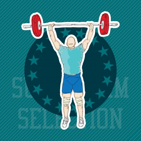 Boy playing sports (weightlifting). Vector Illustration Vector