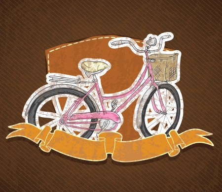 Vintage bicycle on brown background. Vector Illustration Stock Vector - 18607408