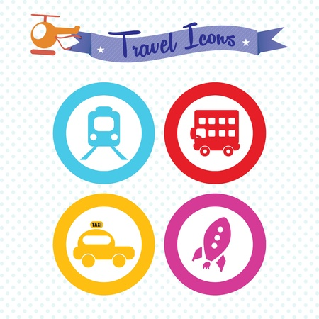 Travel and Transport Colorful Icons (collection set) Stock Vector - 18606959