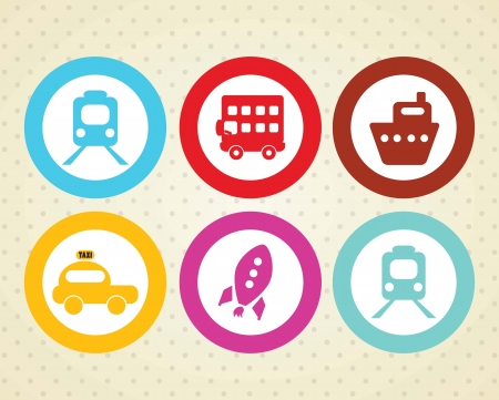 Travel and Transport Colorful Icons (collection set) Stock Vector - 18606891